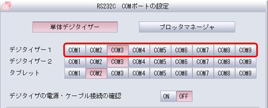 RS232C COMポートの設定