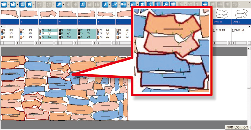 複数パーツを1グループにして自動配置可能で、裁断時間の短縮と裁断後の作業効率アップ width=