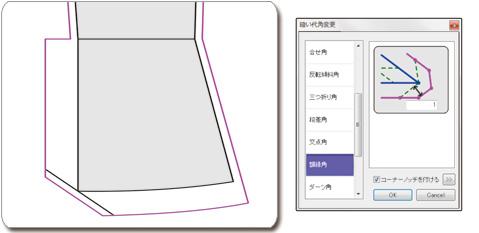 多彩な縫い代  角形状メニュー